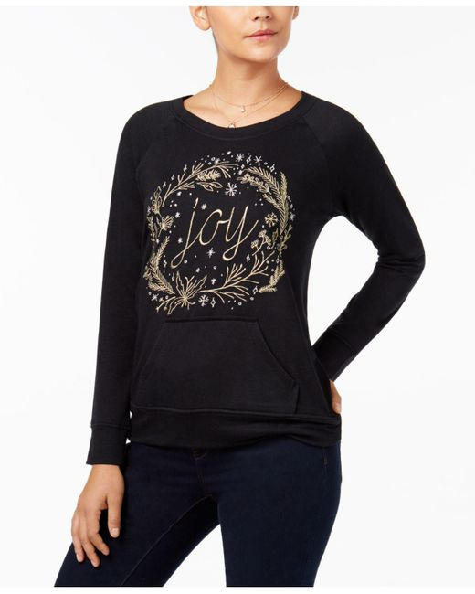 Style & Co.   Black Embroidered Sweatshirt   Lyst