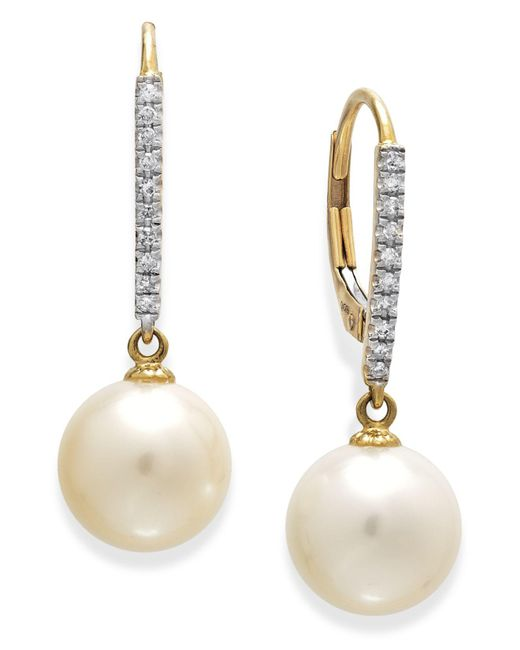 Macy's | Metallic 14k White Gold Earrings, Cultured Freshwater Pearl (10mm) And Diamond Accent Leverback Earrings | Lyst