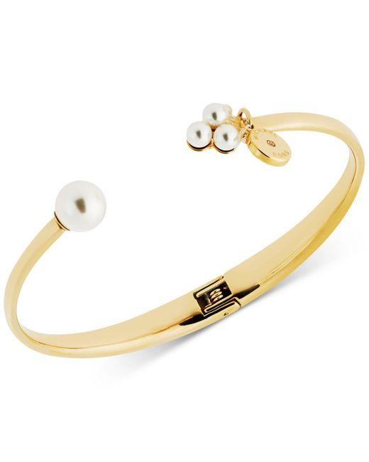 Michael Kors | Metallic Pavé Logo Charm & Imitation Pearl Hinged Bangle Bracelet | Lyst