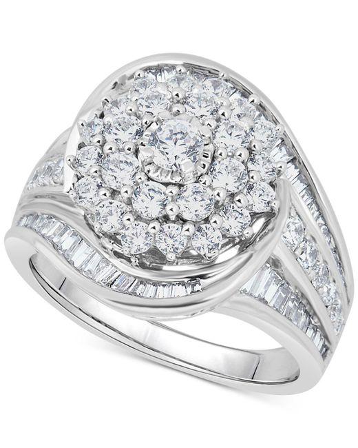 Macy's - Metallic Diamond Cluster Statement Ring (2 Ct. T.w.) In 14k White Gold - Lyst