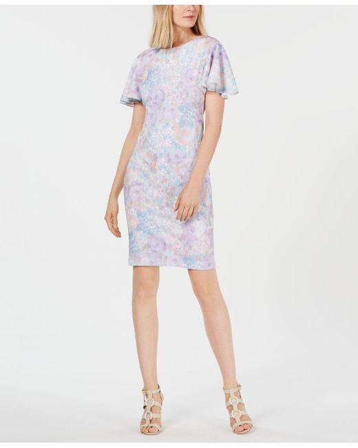 5b49df53 Calvin Klein - Multicolor Pastel Floral Flutter-sleeve Dress - Lyst ...