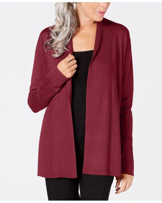 Karen Scott - Red Open-front Cardigan, Created For Macy's - Lyst