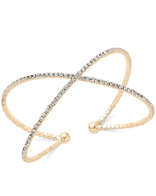INC International Concepts - Metallic Pavé X Flex Bracelet - Lyst