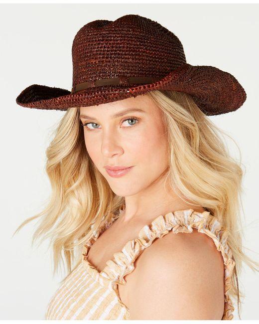 Frye Brown Raffia Dean Cowboy Hat