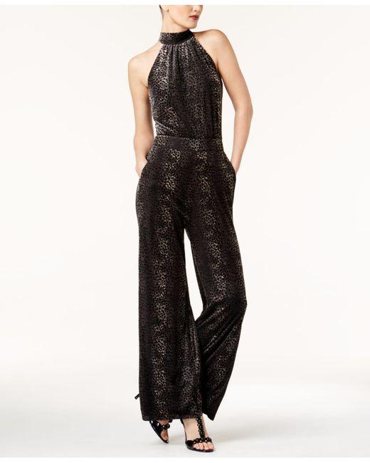 Catherine Malandrino | Black Velvet Snake-embossed Jumpsuit | Lyst
