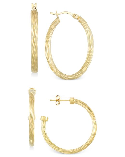 Macy's - Metallic Set Of Two Rope Hoop Earrings In 14k Gold Vermeil - Lyst