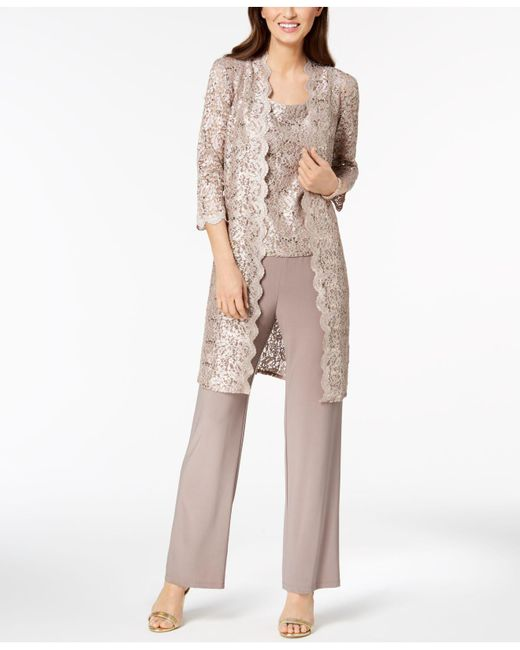 R & M Richards Multicolor 3-pc. Sequined Lace Pantsuit & Jacket