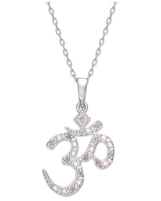 Macy's | Metallic Diamond Om Pendant Necklace In Sterling Silver (1/10 Ct. T.w.) | Lyst