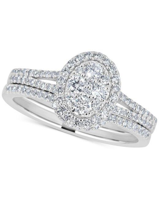 Macy's - Diamond Cluster Bridal Set (3/4 Ct. T.w.) In 14k White Gold - Lyst