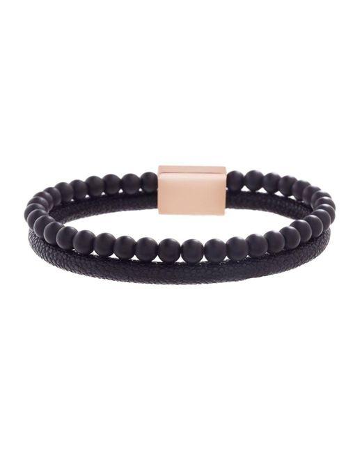 Steve Madden Black Beaded And Textured Leather Bracelet
