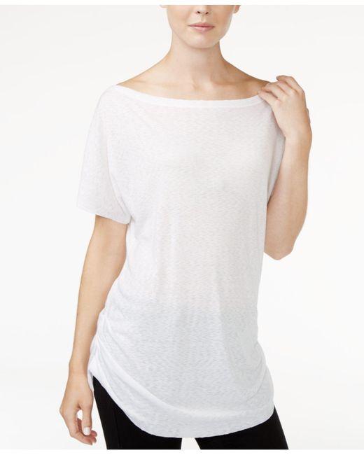 RACHEL Rachel Roy - White Ruched Boat-neck T-shirt - Lyst