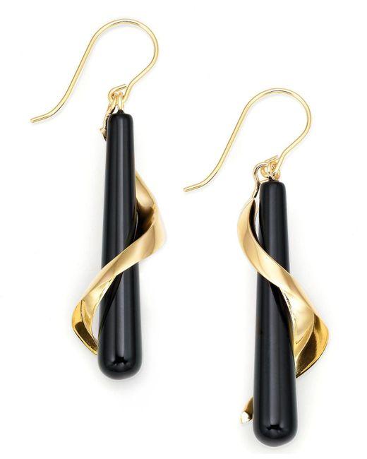 Macy's - Metallic 14k Gold Onyx Spiral Drop Earrings - Lyst