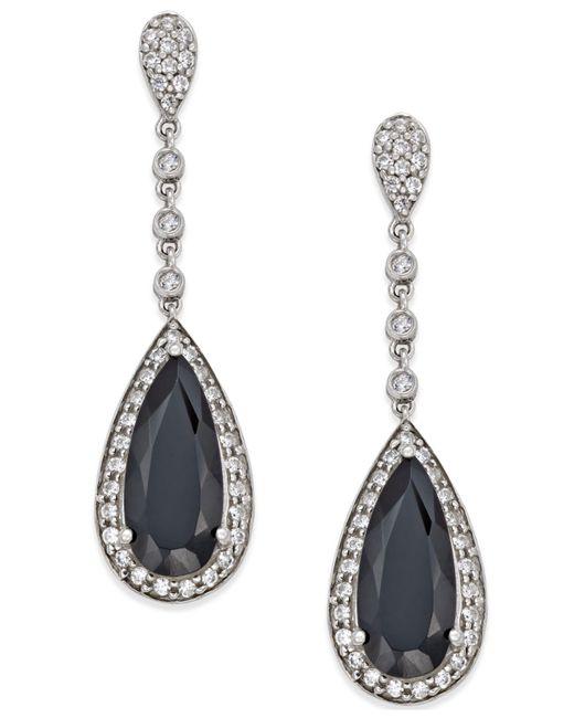 Macy's - Metallic Onyx (7×16mm) And Swarovski Zirconia Drop Earrings In Sterling Silver - Lyst