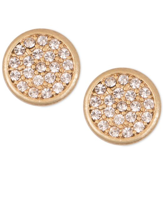 Lonna & Lilly - Metallic Mixed Metal Pavé Disc Stud Earrings - Lyst