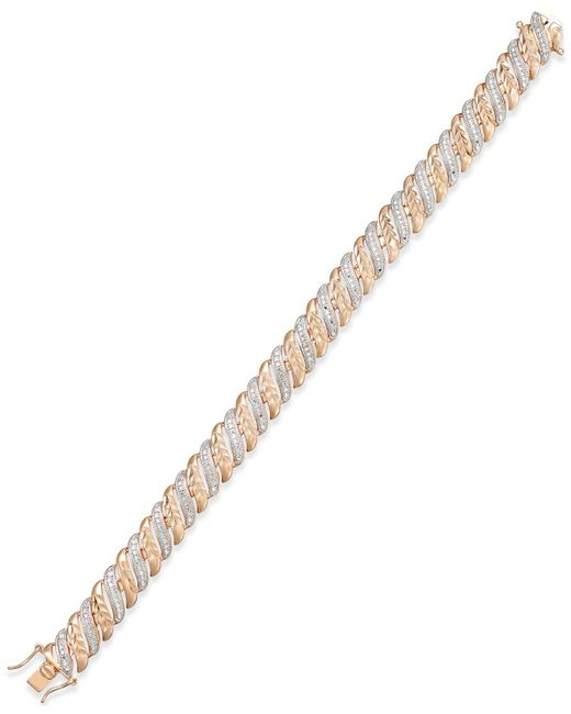 Macy's - Metallic Diamond Accent Glitz Bracelet In 18k Rose Gold-plated Sterling Silver And Rhodium - Lyst
