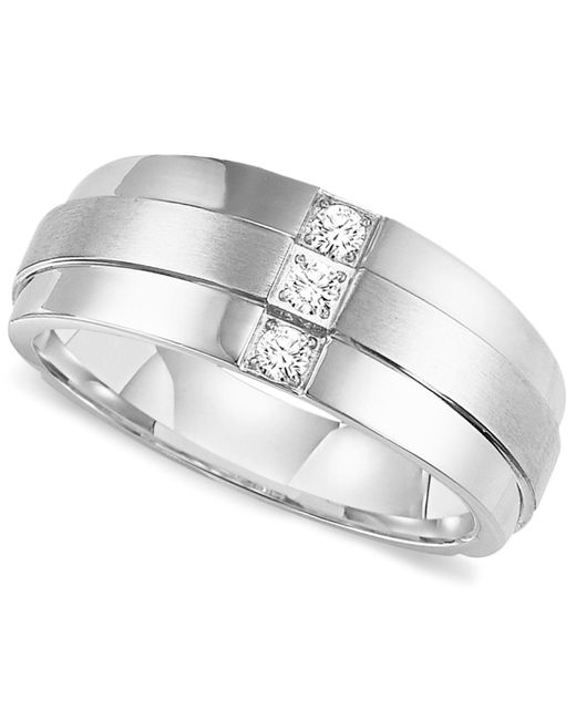 Triton - Metallic Men's Three-stone Diamond Wedding Band Ring In Stainless Steel (1/6 Ct. T.w.) for Men - Lyst