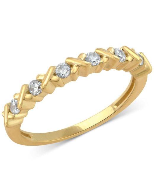 Macy's | Metallic Diamond Crisscross Band (1/4 Ct. T.w.) In 14k Rose, Yellow Or White Gold | Lyst