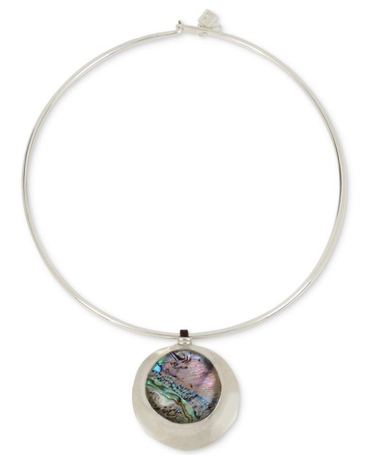 "Robert Lee Morris - Metallic Silver-tone Abalone-look Wire 16"" Pendant Necklace - Lyst"