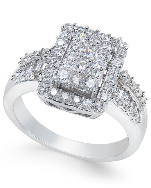 Macy's - Metallic Diamond Cluster Engagement Ring (1 Ct. T.w.) In 14k White Gold - Lyst