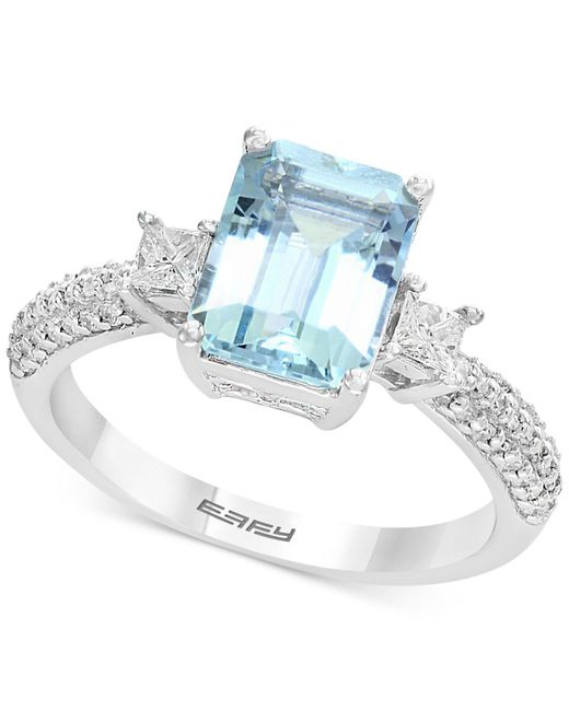 Effy Collection - Blue Aquamarine (2-1/4 Ct. T.w.) & Diamond (3/8 Ct. T.w.) Ring In 18k White Gold - Lyst