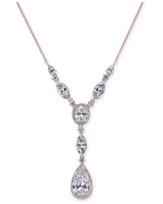 Danori | Metallic Rose Gold-tone Multi-crystal Lariat Necklace | Lyst
