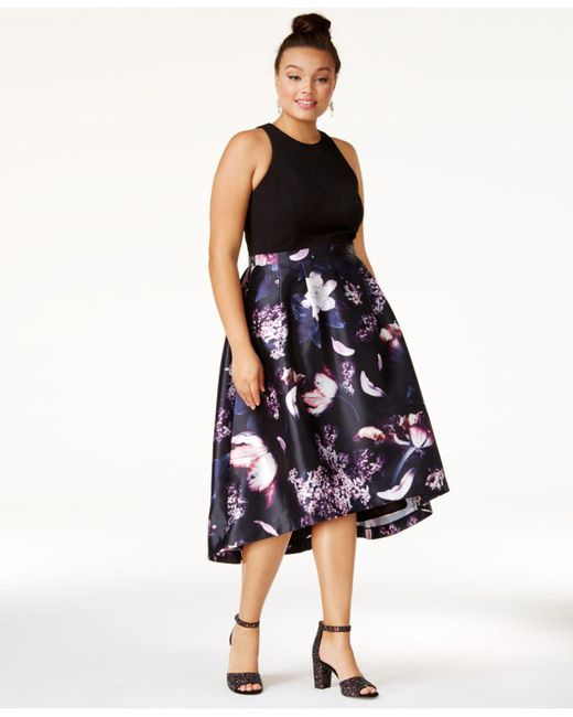 Lyst City Chic Trendy Plus Size Printed High Low Dress In Blue