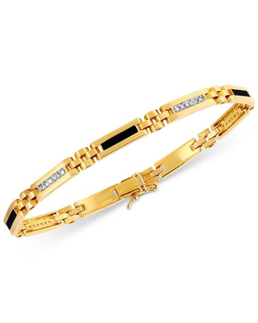 Macy's - Metallic Men's Onyx (11-1/2mm X 2-1/2 Mm) And Diamond (1/4 Ct. T.w.) Bracelet In 10k Gold - Lyst
