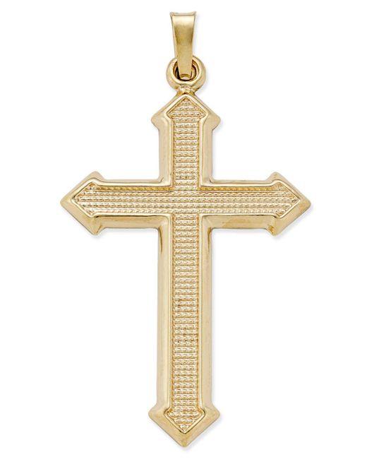 Macy's | Metallic Decorative Textured Cross Pendant In 14k Gold | Lyst