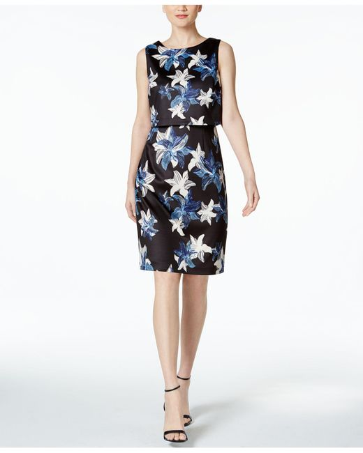Ivanka Trump | Black Floral-print Scuba Popover Dress | Lyst