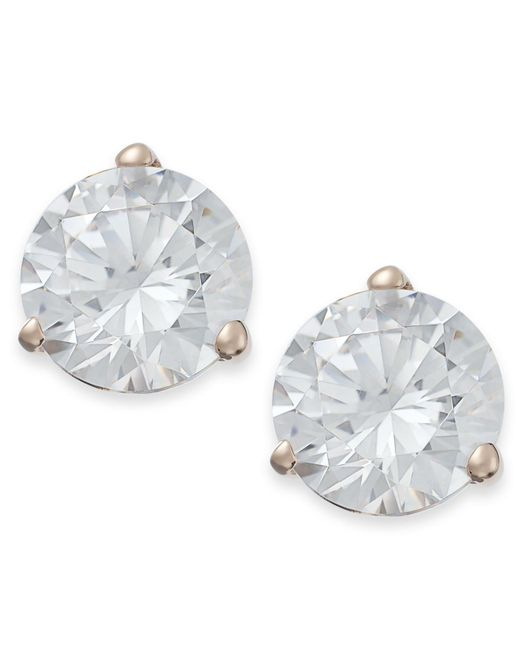 Arabella - Metallic 14k Rose Gold Earrings, Swarovski Zirconia Stud Earrings (7mm) - Lyst