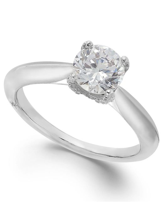 Marchesa | Certified Diamond Solitaire Engagement Ring In 18k White Gold (1 Ct. T.w.) | Lyst
