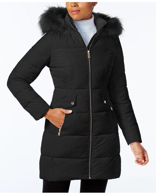 Ivanka Trump   Black Faux-fur-trim Down Puffer Coat   Lyst
