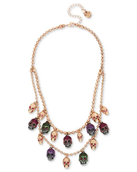 Betsey Johnson | Multicolor Two-tone Multi-stone & Glitter Skull Double-layer Necklace | Lyst