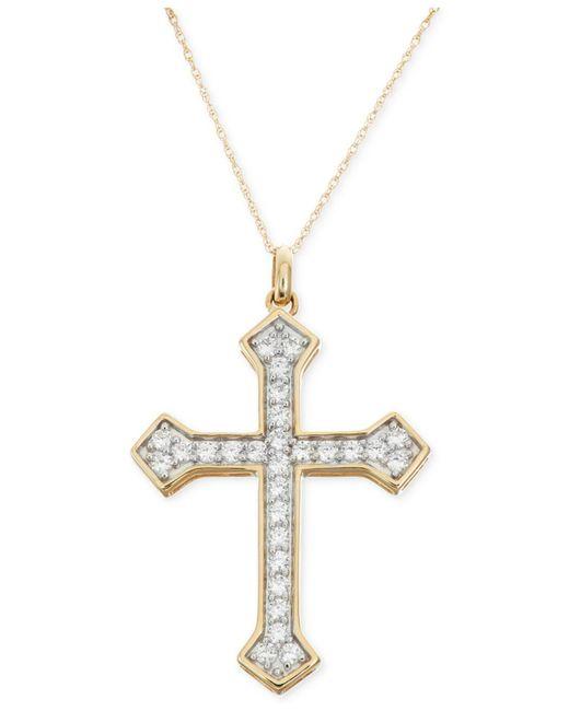 Macy's - Metallic Diamond Cross Pendant Necklace (1 Ct. T.w.) In 14k Gold - Lyst