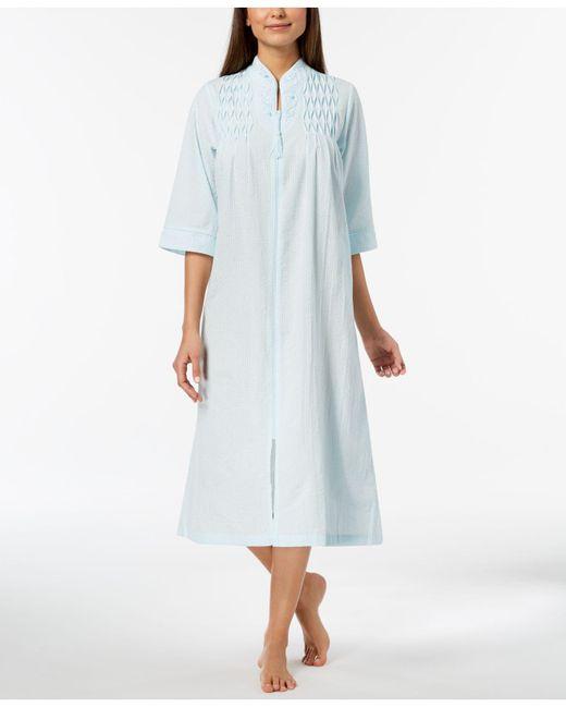 Miss Elaine - Blue Petite Embroidered Seersucker Zip Robe - Lyst