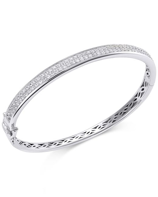 Macy's - Metallic White Sapphire Bangle Bracelet In Sterling Silver (2 Ct. T.w.) - Lyst