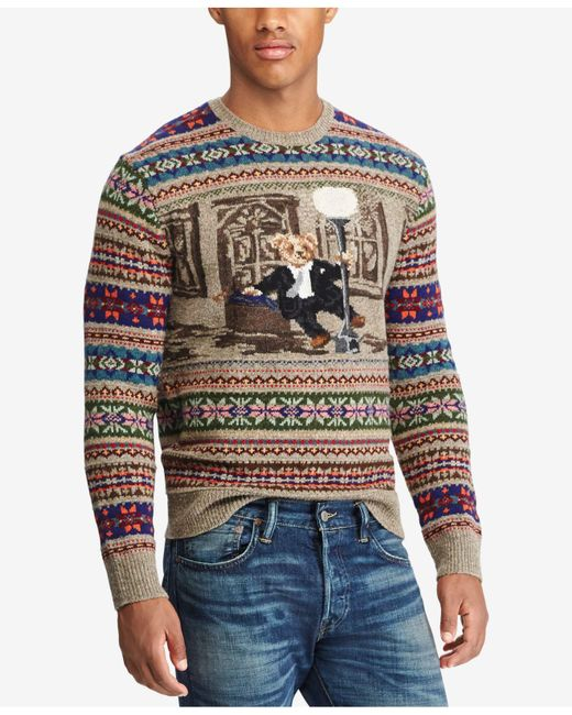 Polo Ralph Lauren - Multicolor Men's Iconic Bear Isle Sweater for Men - Lyst