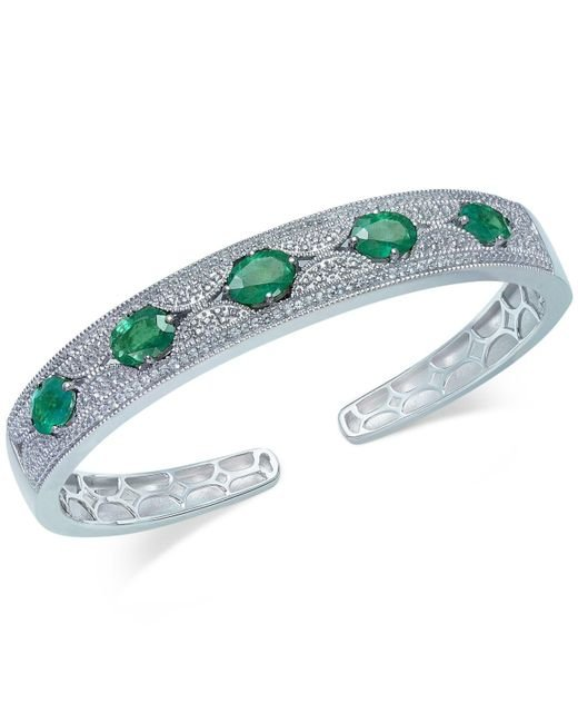 Macy's - Multicolor Emerald (5 Ct. T.w.) And White Sapphire (1 Ct. T.w.) Bangle Bracelet In Sterling Silver - Lyst