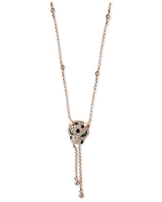 Effy Collection Metallic Diamond (1/3 Ct. T.w.) And Tsavorite Accent Panther Lariat Necklace In 14k Rose Gold