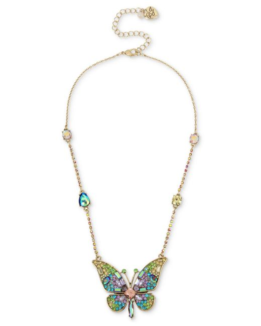 "Betsey Johnson - Metallic Gold-tone Crystal & Pavé Butterfly Pendant Necklace, 15"" + 3"" Extender - Lyst"
