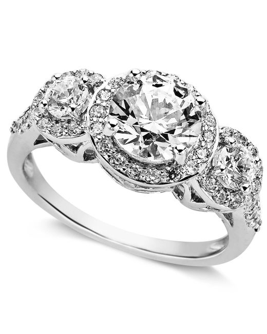 Arabella - Metallic Sterling Silver Ring, Swarovski Zirconia Three Stone Ring (3-1/3 Ct. T.w.) - Lyst