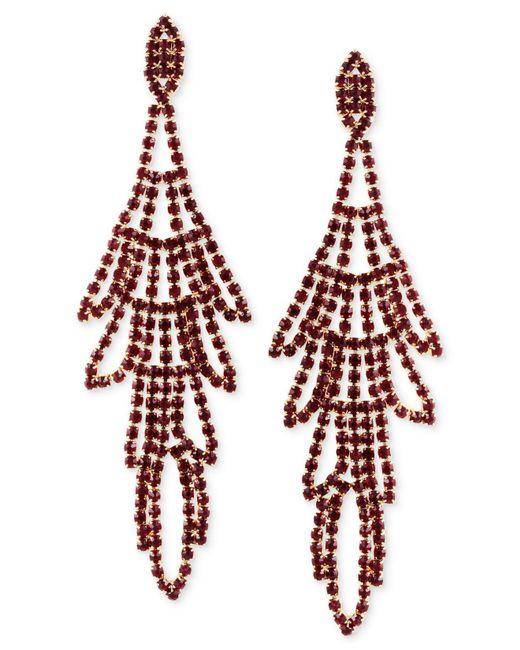 Guess - Red Multi-stone Swing Chandelier Earrings - Lyst