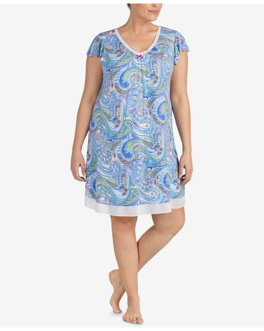 Ellen Tracy - Blue Plus Size Printed Chiffon-hem Short Nightgown - Lyst