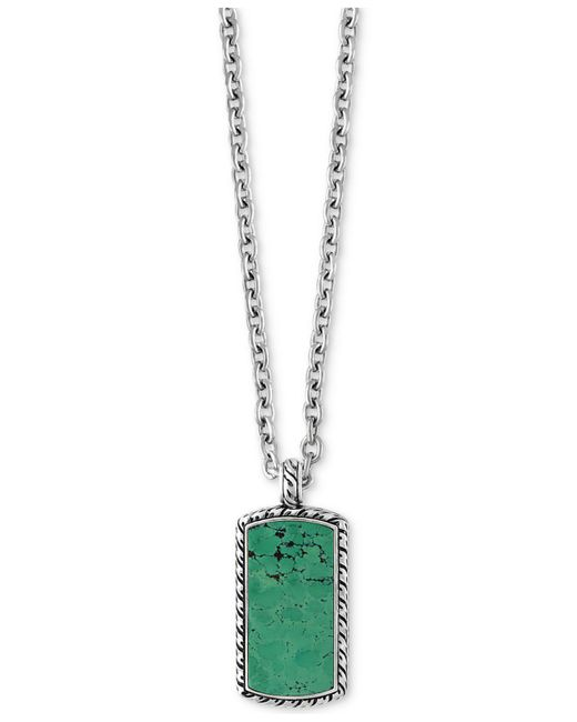 Effy Collection - Metallic Men's Manufactured Turquoise Dog Tag Pendant Necklace (9-3/8 Ct. T.w.) In Sterling Silver - Lyst
