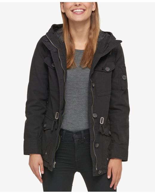 Levi's - Black Hooded Military Jacket - Lyst