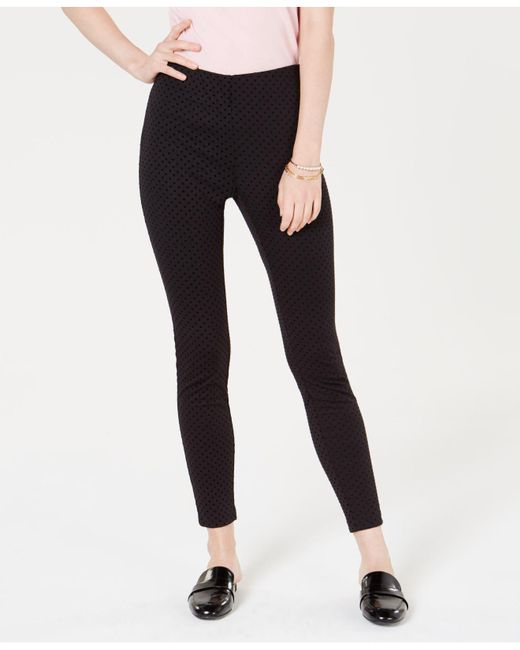 Maison Jules - Black Flocked Dotted Skinny Pants, Created For Macy's - Lyst