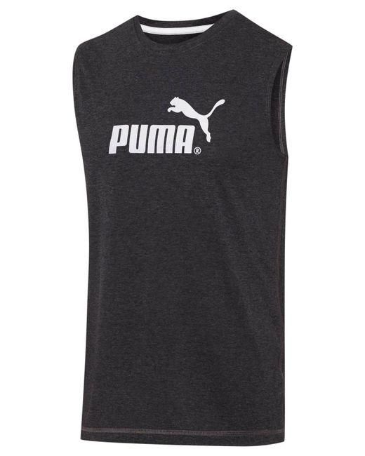 PUMA | Gray Logo Muscle Tank for Men | Lyst