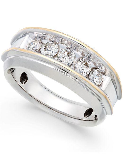 Macy's | Metallic Men's Five-stone Two-tone Diamond Ring In 10k Gold (1 Ct. T.w.) for Men | Lyst