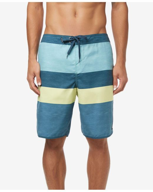 """O'neill Sportswear Blue Four Square Ultrasuede Quick-dry Colorblocked Stripe 20"""" Board Shorts for men"""