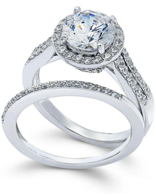 Arabella - Metallic Swarovski Zirconia Bridal Set In Sterling Silver (4 Ct. T.w.) - Lyst